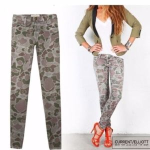 Current Elliott ankle skinny gray Camo jeans 25